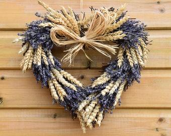 Dried lavender wreath, lavender heart, heart wreath, dried flowers, flower wreath, front door wreath, home decor, floral, rustic wreath
