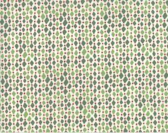"End of Bolt, Christmas Diamond Frost in Light Green Spruce from the Merry Merry Collection by Kate Spain for Moda, Chrtismas Print, 18""x44"""