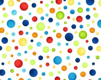 Multicolor Dots on White from the Jungle Camp Collection by Swizzle Stick Studios, Primary Color Polka Dot