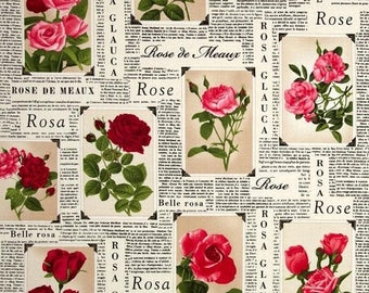 Sale Romantic Rose Frames by Timeless Treasures - Rose Fabric