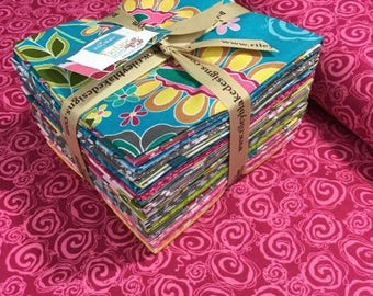 Sale Fantine Fat Quarter Bundle Plus Two Yards of Fantine Berry Swirl by Lila Tueller for Riley Blake, Complete Collection, Quilt Bundle