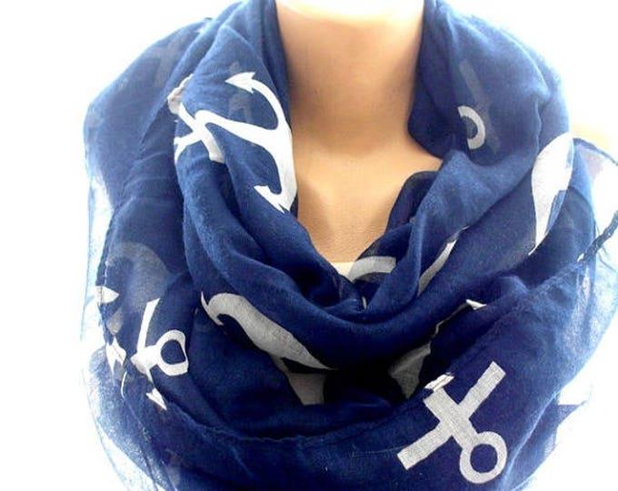 navy blue infinity scarf, anchor scarf, loop scarf, chevron scarf, cozy scarf, trendy scarf