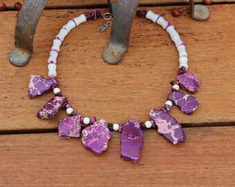 Statement purple jewelry, Bib necklace, Purple beaded necklace, Contemporary gemstone necklace, Chunky purple necklace