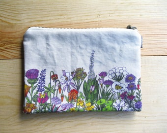 Yosemite Wildflowers Pouch - Zipper Pouch. High Sierra Wildflower Print Bag, Fully Lined with Brass Metal Zipper. Flower Illustration Bag