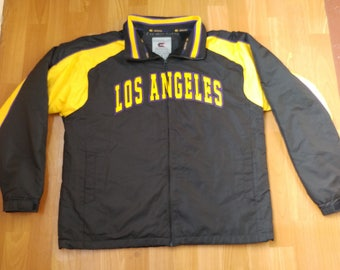 Los Angeles jacket, vintage coat, 90s hip hop clothing, old school hip-hop jacket, black college windbreaker, size M Medium