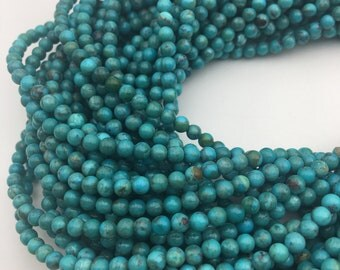 GenuineTurquoise Smooth Round Loose Beads Size 4mm 15.5'' Long. R-S-TUR-3132018