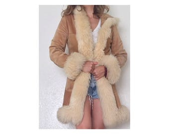 One-of-a-kind Vintage Suede and Shearling Hooded Coat • 1960s U.K. Shearling Parka • Almost Famous • London Groovy
