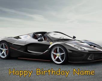 Ferrari Car Edible Image Cake Topper Personalized Birthday 1/4 Sheet