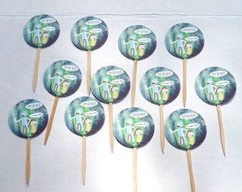 Set of 12 Rick and Morty Cupcake Picks Topper Birthday Party