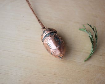 Electroformed acorn pendant Copper acorn necklace Real acorn necklace Electroformed necklace Copper pendant Acorn jewelry Unique gift