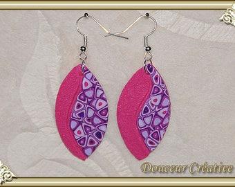 Earrings pink and purple 104037