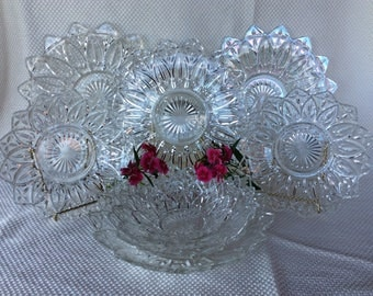 "Vintage Federal Glass Bowl 6""dia petal-clear pattern 1960 small berry bowl"
