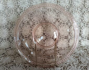 "Antique 12"" pink Depression glass round cake plate serving platter"