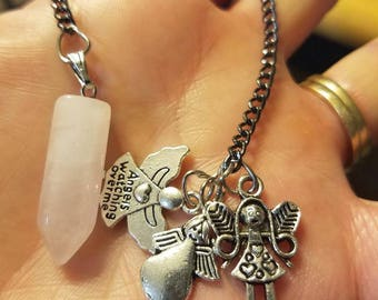 crystal pendulum with angel charms
