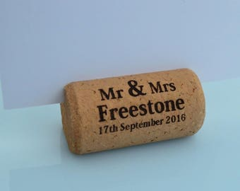 Personalized Cork Place Card Holders Model 11 Dark