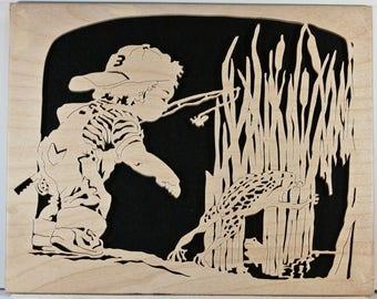 Young Boy Fishing w/Frog