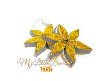 Quilling yellow grey North Star earrings