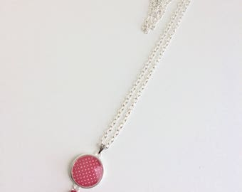 Necklace cabochon and red dots