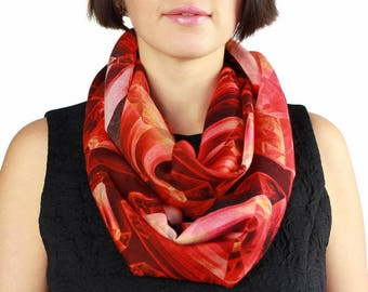 Woolen Scarf, Red Scarf, Gemstone, Printed Wool Scarf, Red Ruby Scarf, Gift For Her, Art Scarf, Shawl, Abstract Scarf, Geometry