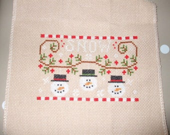 "Cross stitch handmade ""Christmas SNOW"" COUNTRY COTTAGE NEEDLEWORKS"