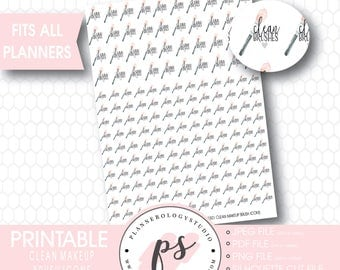Clean Makeup Brushes Icons | Digital Printable Planner Stickers | JPG/PDF/Silhouette Compatible Cut