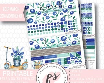 Bloom Again March 2018 Monthly View Kit Digital Printable Planner Stickers (for Erin Condren)|JPG/PDF/Silhouette Cut File/Blackout File