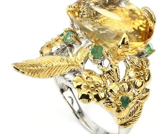 Artistic Rustic Natural  Citrine Emerald 925 Silver Ring Size 9.5 with 14kt Gold