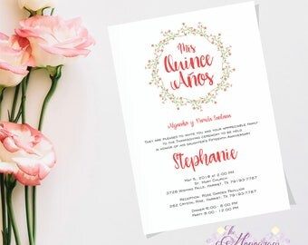 Cute Printable Invitation Quinceanera Party, Fifteen Old Year Celebration, Sweet Fifteen, Fifteen Birthday, Quinceaneras Celebration Party