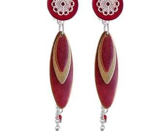 Red petals clip earring