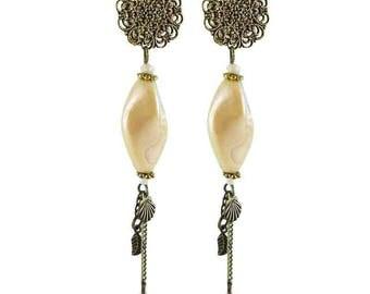 Earrings clips beige Louise (made in France)
