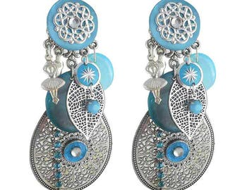 Earring clip Riad turquoise (made in France)