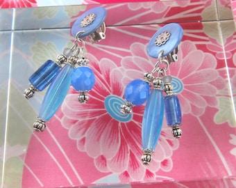 Nina blue Clip earring