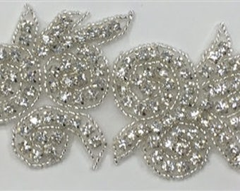 """ModaTrims Hot-Fix or Sew-On Beaded Crystal Rhinestone Trim (clear Crystals, silver Beads, 2"""" Wide) - rhs-trm-1336-silver"""