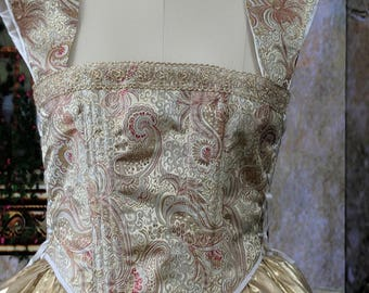 Renaissance Era Side-lacing bodice in brocade and gold lame