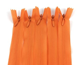 Set of 5 invisible zippers orange 20 cm not separable