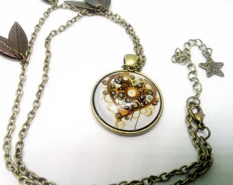 steampunk necklace, heart and multiple wheels vintage