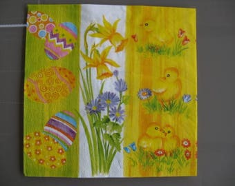 set of 2 napkins Chick, Easter eggs and daffodils