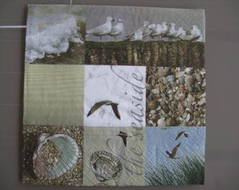 set of 2 Seagull and seaside paper napkins