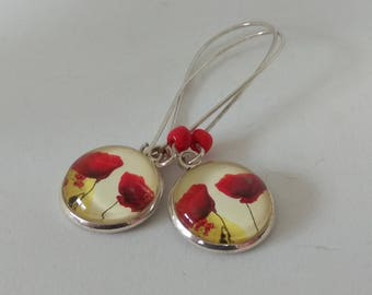 Earrings cabochon silver glass poppies