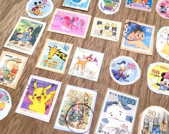 Cute Japanese Postage Stamp Collection 25 in Pack
