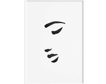 Croquis d'une femme 1 PRINTABLE | Woman's face sketch abstract Wall Art minimal artwork Poster Picasso  Black white minimalist drawing