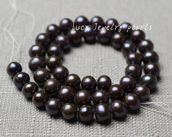 DIY large hole pearl,Dark brown pearl,freshwater pearl necklace,potato pearl necklace,loose beads 8.5-9.5mm 45pcs wedding Full Strand LY2111