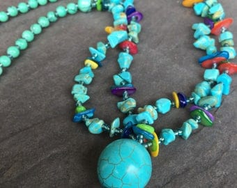 Turquoise Stone Beaded Long Necklace