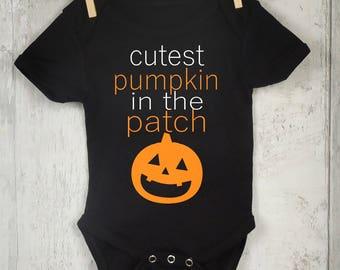 Cutest pumpkin in the patch baby halloween bodysuit toddler tshirt