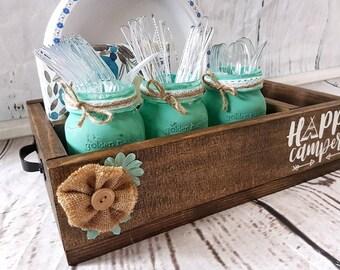 Happy Camper Caddy- Camping caddy- wood caddy- picnic caddy- utensil holder- organizer- painted- mason jars- rustic- wood sign