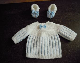 bra and newborn hand knitted booties
