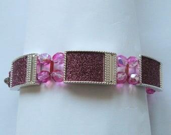 BR42 – Handmade silver and cerise coloured bracelet