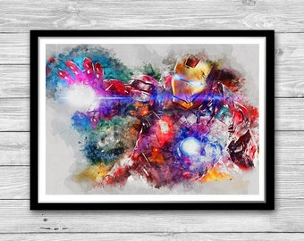 Iron Man Painting Poster Avengers Watercolor Avengers poster Iron Man Art Iron Man Print Superhero Print Superhero Poster Iron Man kids room