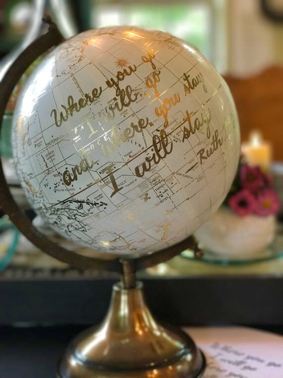 Custom Calligraphy Globe / Your Choice of Wording / White and Gold Calligraphy Globe or Black Globe / Custom Calligraphy / Ink Your Choice