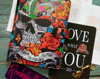 Planner A5 size binder sculls and roses
